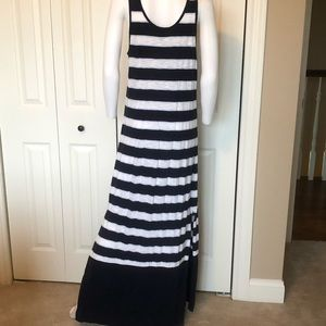 Blue and white striped maxi
